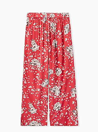 Plus Size Red Floral Challis Self Tie Wide Leg Pant , FLORAL, alternate