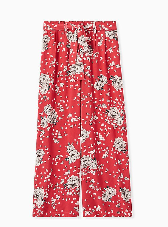 Red Floral Challis Self Tie Wide Leg Pant , , hi-res