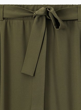 Plus Size Olive Green Crepe Self Tie Tapered Pant , DEEP DEPTHS, alternate