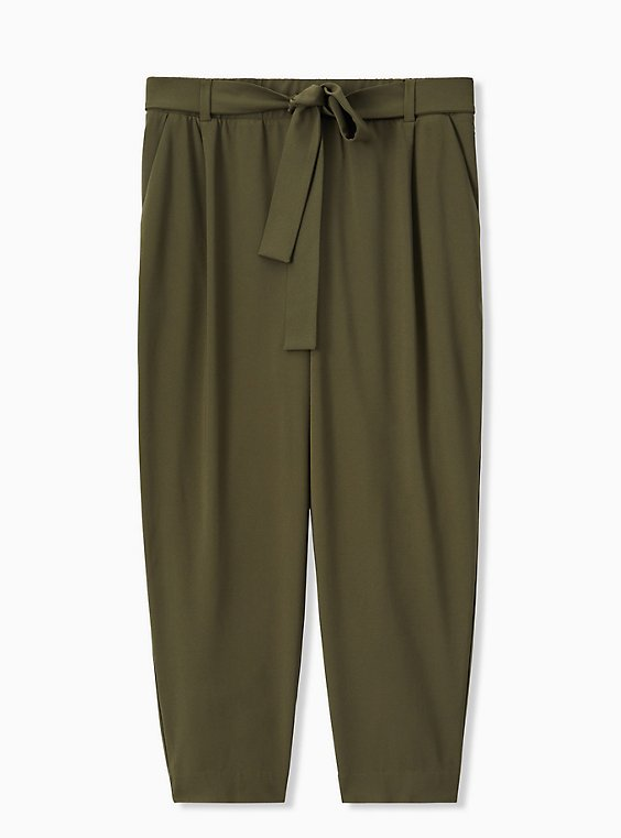 Plus Size Olive Green Crepe Self Tie Tapered Pant , , hi-res