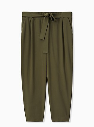 Olive Green Crepe Self Tie Tapered Pant , DEEP DEPTHS, hi-res