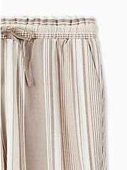 Taupe Stripe Crosshatch Drawstring Paperbag Waist Crop Pant , STRIPES, alternate