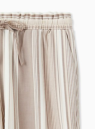Plus Size Taupe Stripe Challis Drawstring Paperbag Waist Tapered Pant , STRIPES, alternate