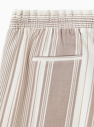Taupe Stripe Challis Drawstring Paperbag Waist Tapered Pant , STRIPES, alternate
