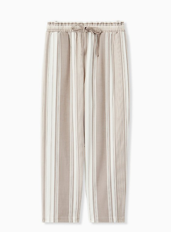 Plus Size Taupe Stripe Crosshatch Drawstring Paperbag Waist Crop Pant , , hi-res