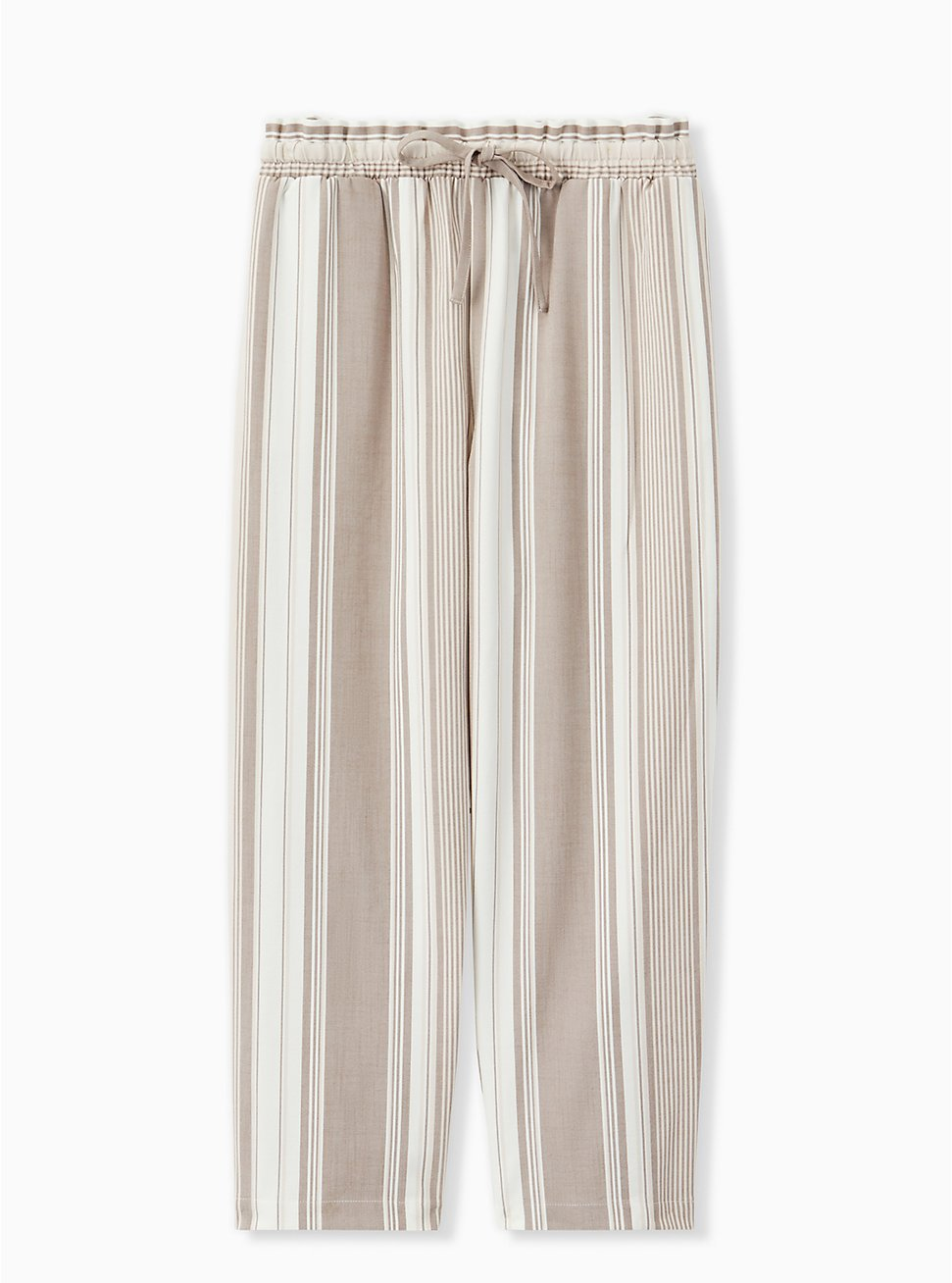 Taupe Stripe Crosshatch Drawstring Paperbag Waist Crop Pant , STRIPES, hi-res