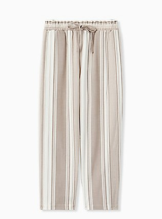 Plus Size Taupe Stripe Challis Drawstring Paperbag Waist Tapered Pant , STRIPES, hi-res