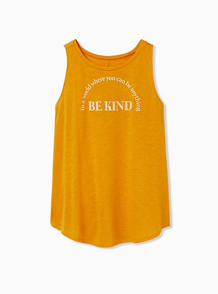Be Kind Golden Orange Slub Crew Tank, GOLDEN GLOW, hi-res