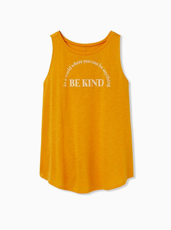 Be Kind Golden Orange Slub Crew Tank, , hi-res