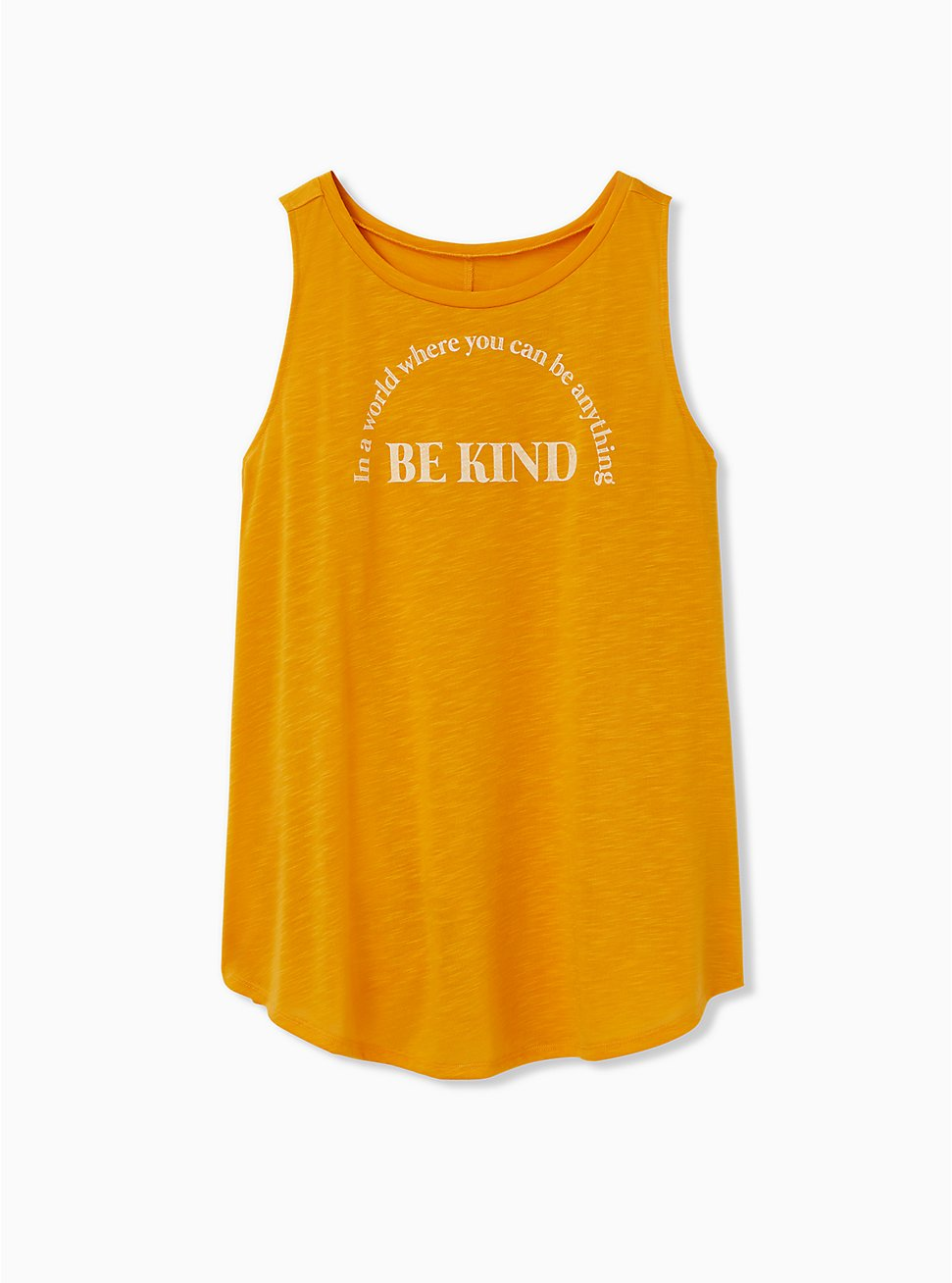 Be Kind Golden Orange Slub Crew Tank, GOLDEN GLOW, hi-res