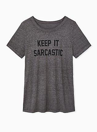 Keep It Sarcastic Heather Grey Crew Tee, MEDIUM HEATHER GREY, hi-res