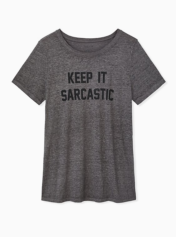 Keep It Sarcastic Heather Grey Crew Tee, MEDIUM HEATHER GREY, ls