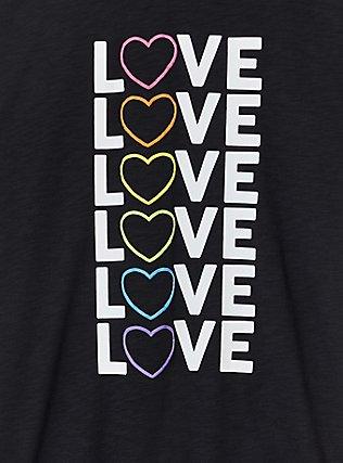 Celebrate Love Rainbow Heart Black Slub Ringer Tee, DEEP BLACK, alternate