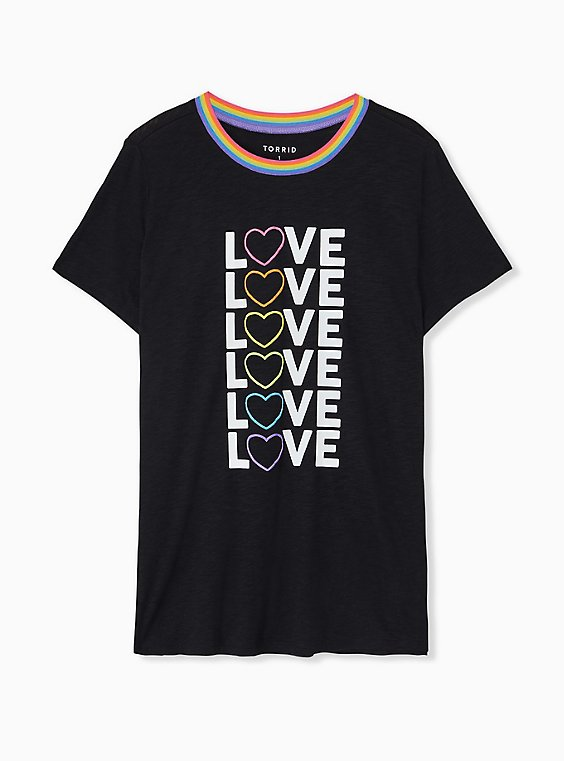 Plus Size Celebrate Love Rainbow Heart Black Slub Ringer Tee, , hi-res