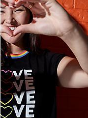 Celebrate Love Rainbow Heart Black Slub Ringer Tee, DEEP BLACK, hi-res