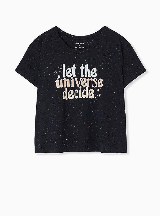 Plus Size Let The Universe Decide Black Confetti Crop Crew Tee, , hi-res