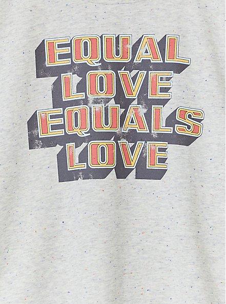 Plus Size Equal Love Equals Love Grey Confetti Crop Crew Tee, MEDIUM HEATHER GREY, alternate