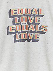 Plus Size Celebrate Love Equal Love Grey Confetti Crop Crew Tee, MEDIUM HEATHER GREY, alternate