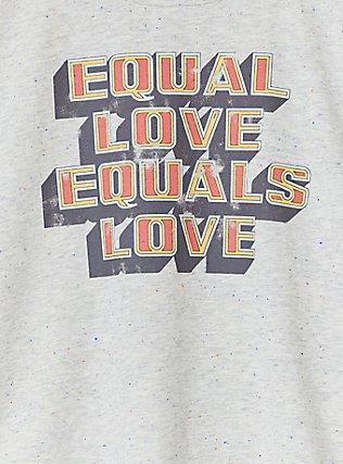 Celebrate Love Equal Love Grey Confetti Crop Crew Tee, MEDIUM HEATHER GREY, alternate