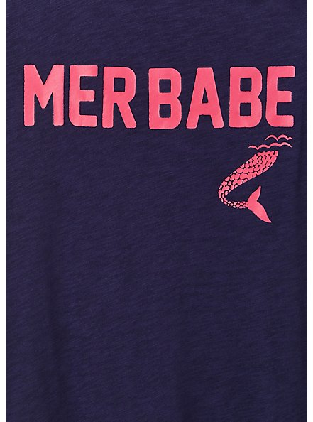 Plus Size Mer Babe Navy Slub Jersey Off Shoulder Tee, PEACOAT, alternate