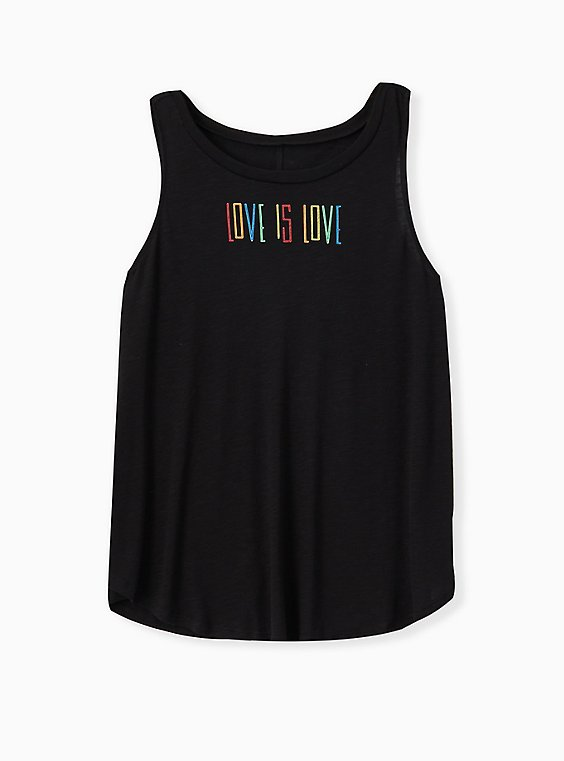 Celebrate Love Is Love Black Slub Tank, , hi-res