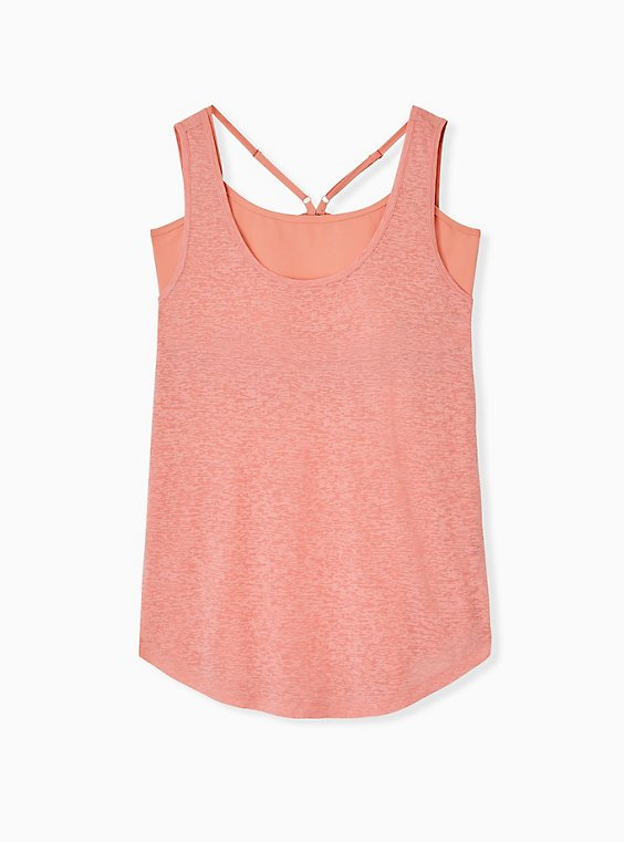 Plus Size Coral Burnout Wicking 2fer Active Tank, , hi-res