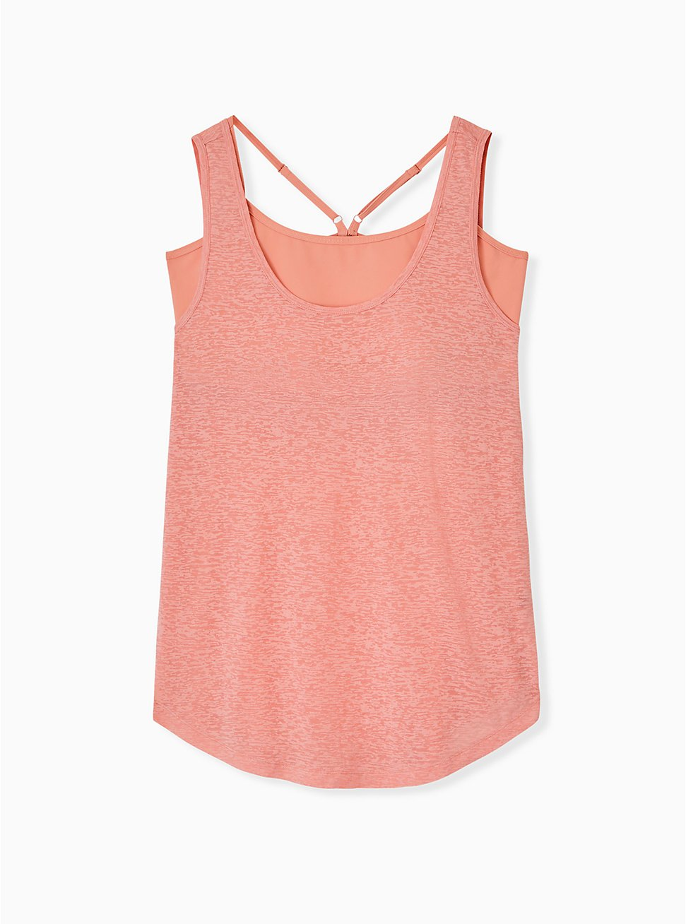 Coral Burnout Wicking 2fer Active Tank, CORAL, hi-res