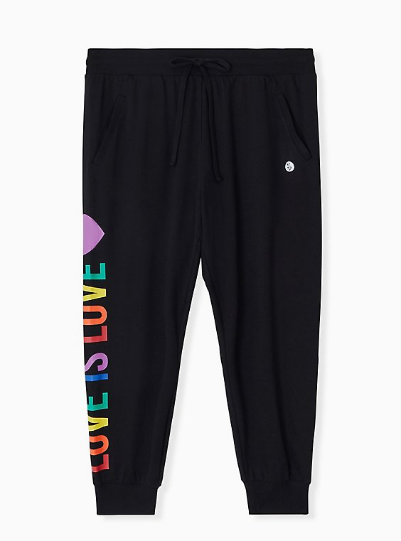 Celebrate Love Is Love Black Terry Crop Active Jogger , , hi-res