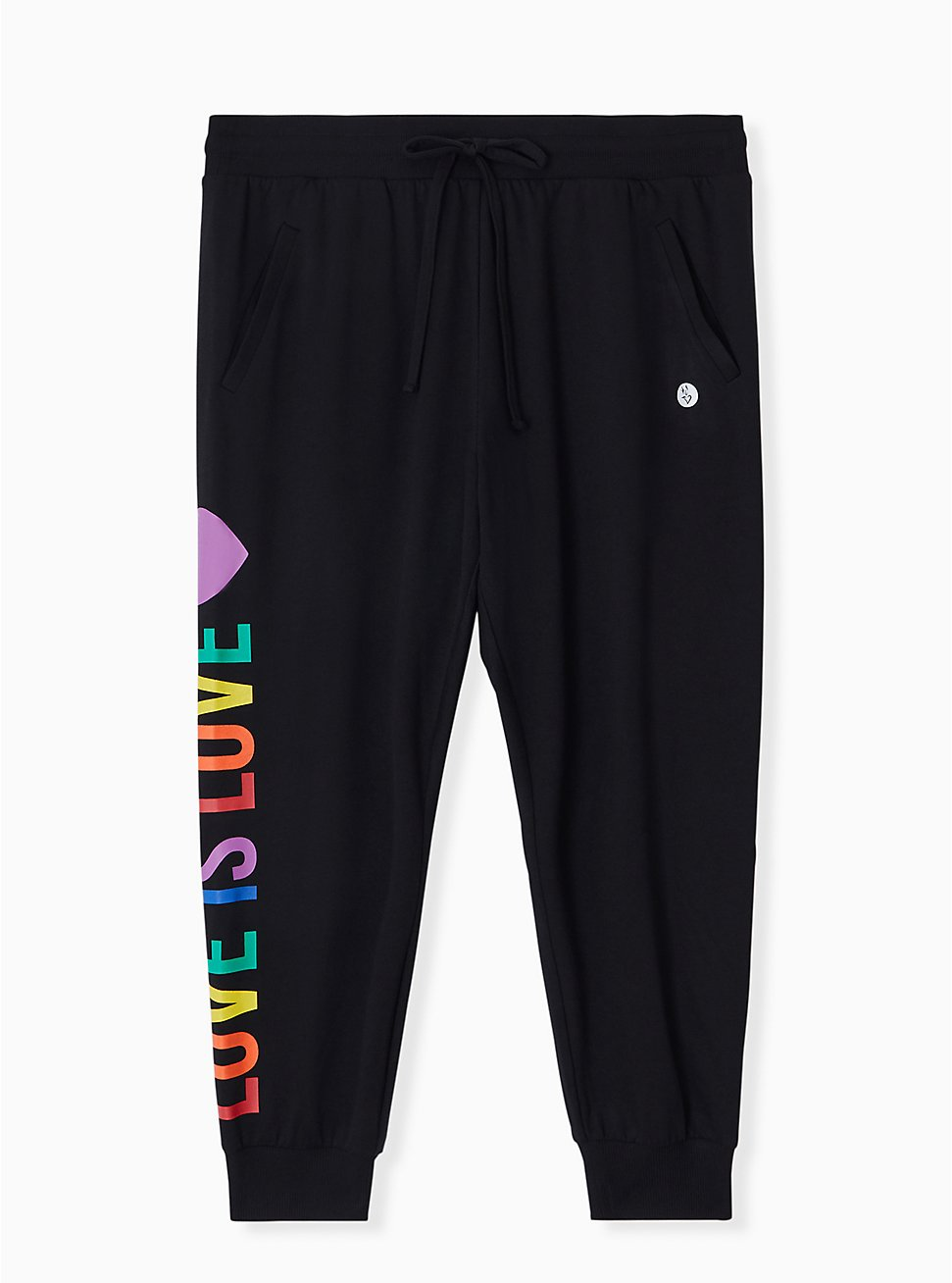 Celebrate Love Is Love Black Terry Crop Active Jogger , DEEP BLACK, hi-res