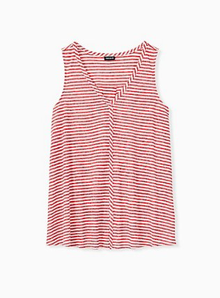 Plus Size Red Stripe Jersey Swing Tank, STRIPE - RED, hi-res