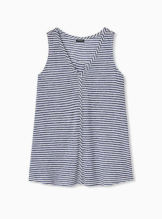 Plus Size Navy Stripe Jersey Swing Tank, , hi-res