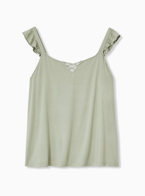 Super Soft Jade Green Lattice Ruffle Sleeve Top, , hi-res
