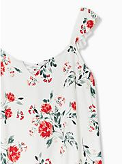 Super Soft Ivory Floral Lattice Ruffle Sleeve Top, FLORALS-WHITE, alternate