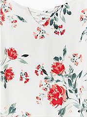 Super Soft Ivory Floral Lattice Ruffle Sleeve Top, FLORALS-WHITE, alternate
