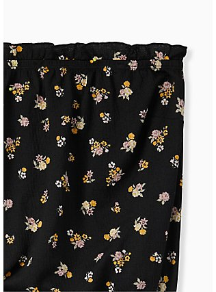 Plus Size Super Soft Black Floral Strapless Crop Top, FLORAL - BLACK, alternate