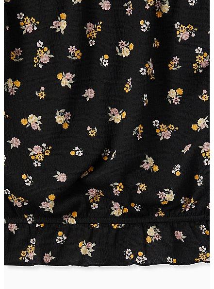 Black Textured Jersey Floral Strapless Crop Top, FLORAL - BLACK, alternate