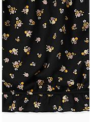 Plus Size Black Textured Jersey Floral Strapless Crop Top, FLORAL - BLACK, alternate