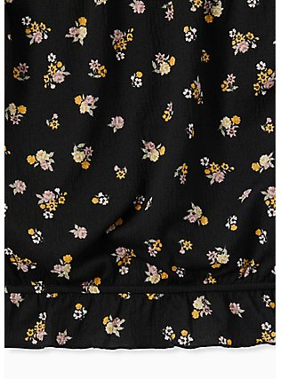 Super Soft Black Floral Strapless Crop Top, FLORAL - BLACK, alternate