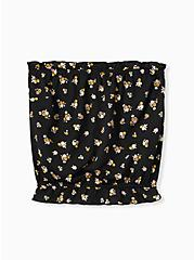Plus Size Black Textured Jersey Floral Strapless Crop Top, FLORAL - BLACK, hi-res