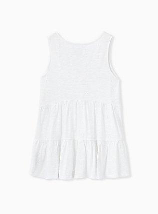 White Eyelet Shirred Hem Babydoll Tank, BRIGHT WHITE, alternate