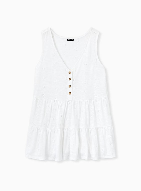 Plus Size White Eyelet Shirred Hem Babydoll Tank, , hi-res