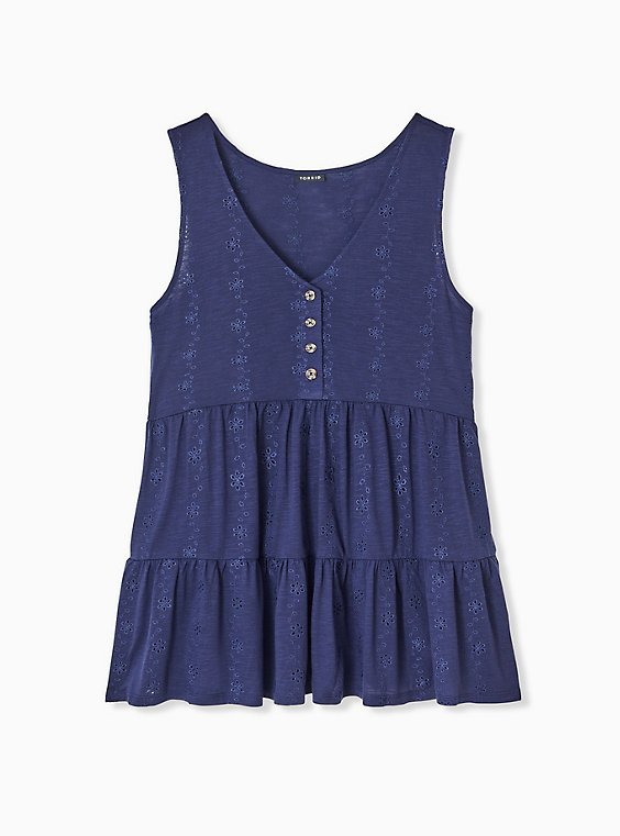 Plus Size Navy Eyelet Shirred Hem Babydoll Tank , , hi-res