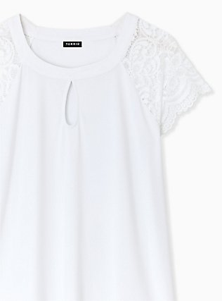 Plus Size White Studio Knit Lace Sleeve Top, BRIGHT WHITE, alternate