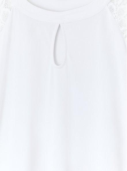 White Studio Knit Lace Sleeve Top, BRIGHT WHITE, alternate