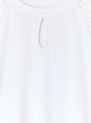 White Studio Knit Lace Sleeve Top, BRIGHT WHITE, alternate