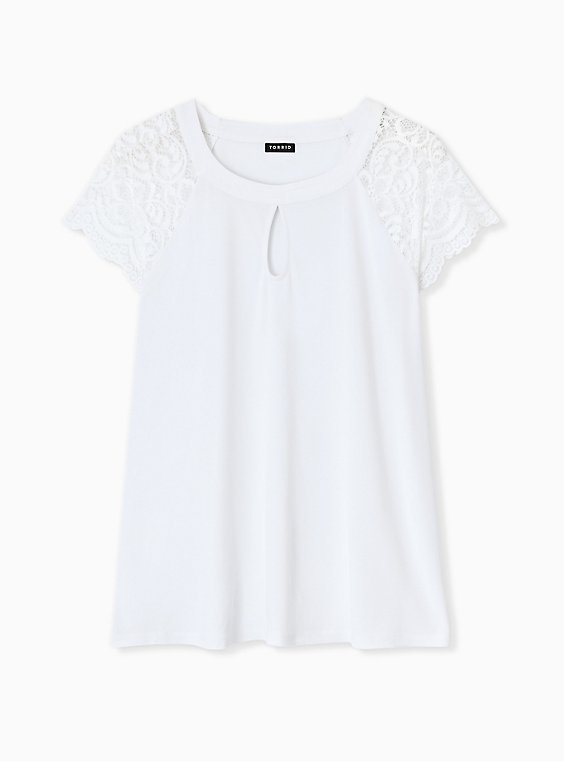 Plus Size White Studio Knit Lace Sleeve Top, , hi-res