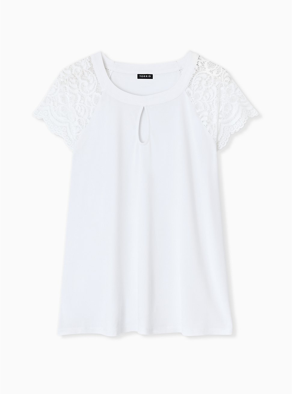 Plus Size White Studio Knit Lace Sleeve Top, BRIGHT WHITE, hi-res