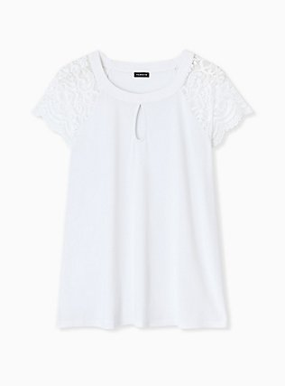 Plus Size White Studio Knit Lace Sleeve Top, BRIGHT WHITE, hi-res