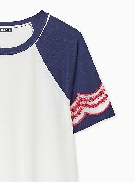 Ivory & Navy Slub Embroidered Midi Raglan Tee, CLOUD DANCER, alternate