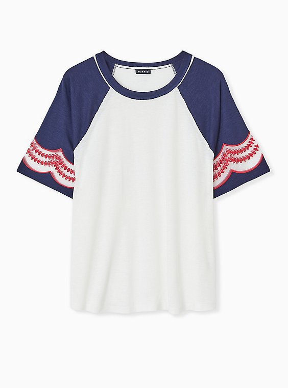 Plus Size Ivory & Navy Slub Embroidered Midi Raglan Tee, , hi-res